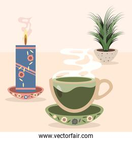 set icons tea cup and candle
