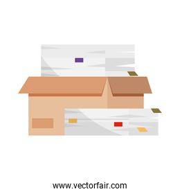 box with stack of paperwork