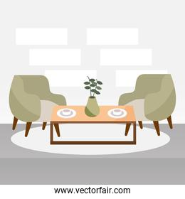 living room with chairs
