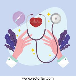 hands with heart and stethoscope