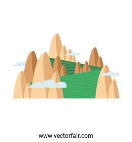south korean landscape with mountains