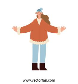 woman avatar with winter cloth