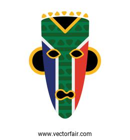 south african flag in mask