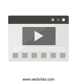 website page with video screen