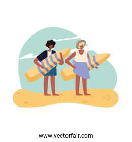 woman and man with summer surfboard