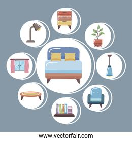 bed and home icon collection