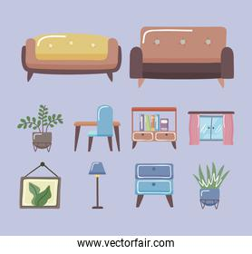 Comfortable couches and home icon set