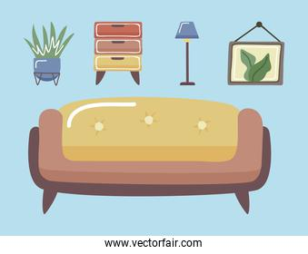 couch and home icon set
