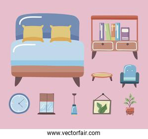 bed and home icon set