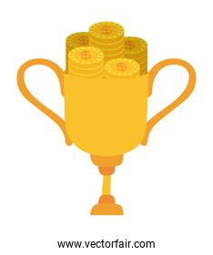 trophy with coins