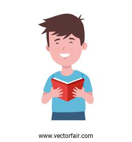 boy with book in hand