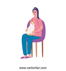 woman seated with cat