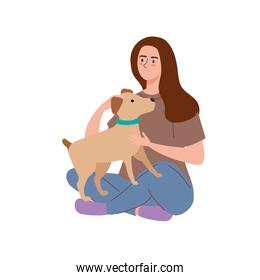 girl seated with dog