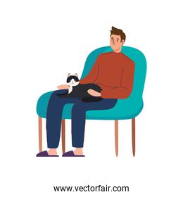 man seated with cat