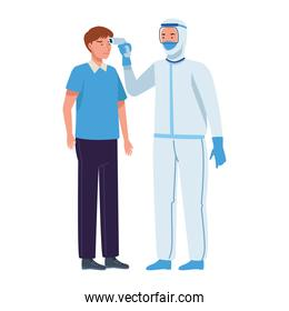 Doctor in protective suit checking temperature to a boy