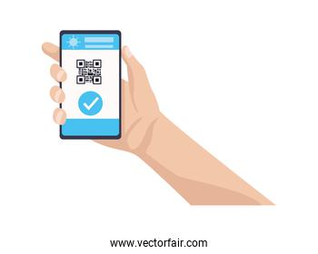 hands holding smartphone with qr