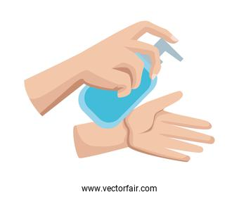 Hands washing with sanitizer