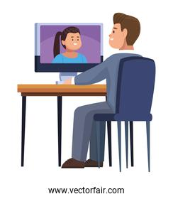 man with computer in video chat