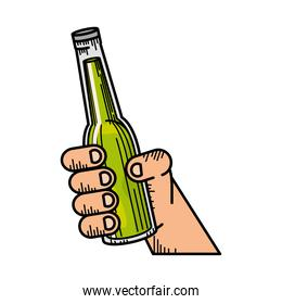 hand with bottle beer