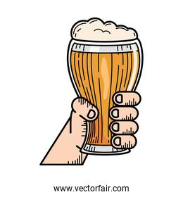 hand with beer glass