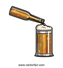 bottle pouring in beer glass