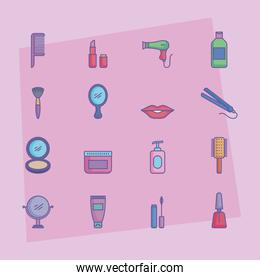 sixteen beauty products icons