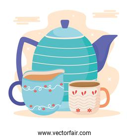 teapot and cups in ceramic