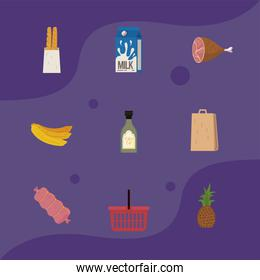 food and shopping icon set