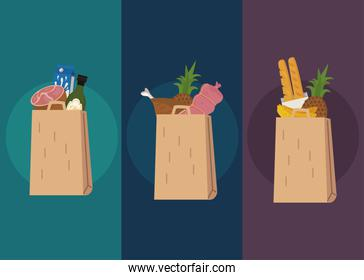 shopping bags set with food