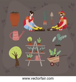 couple and planting icons
