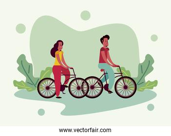 young couple in bicycle