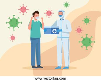Doctor in protective suit and man with mask