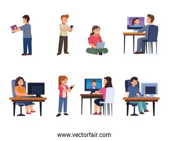 People with device in video chat icon collection