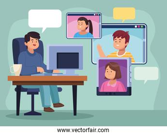 Man with computer at office and people in video chat