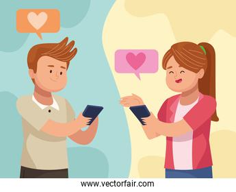 Man and woman in love with tablet in video chat