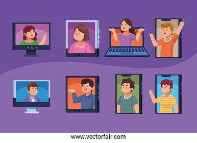 eight persons in virtual meeting