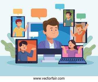 six persons in virtual meeting
