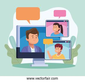 three persons in virtual meeting