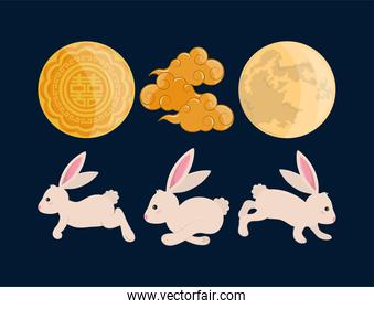 rabbits moon and clouds
