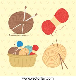 Knitting and sewing icon collection