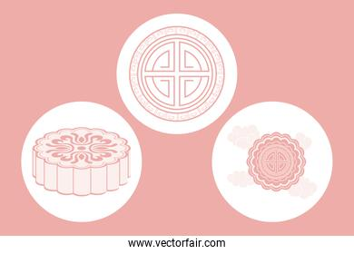 three chinese moon festival icons