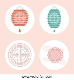chinese moon festival four icons