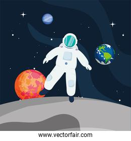 Astronaut in front of planets
