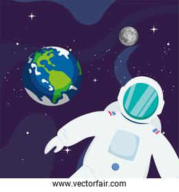 Astronaut and earth planet