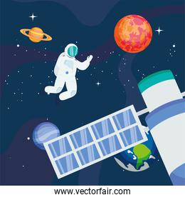Astronaut with satellite and planets