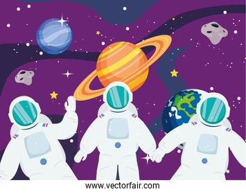 Astronauts in front of saturn and planets