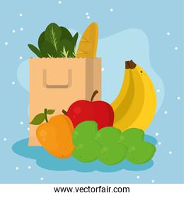 Grocery shopping bag with food icon group