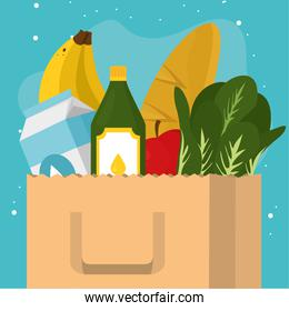 Grocery shopping bag with food icon set