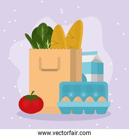 Grocery shopping bag with food symbol set