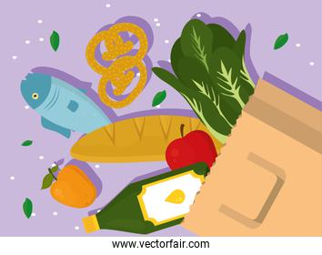 Grocery shopping bag with food